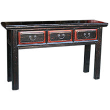 Three Drawer Black Long Table