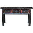 Three Drawer Black Long Table