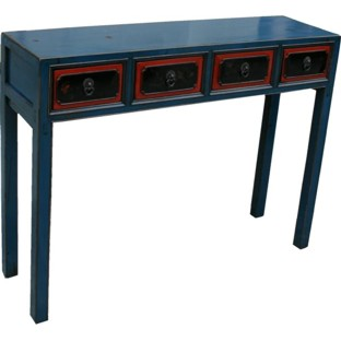 Original manchurian Blue Four Drawers Hall Table/Console Table