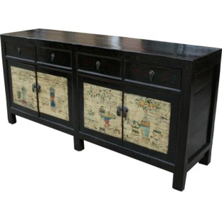 Original Mongolian Painted Sideboard Buffet