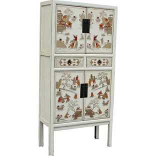 White Chinese Cabinet with Painting