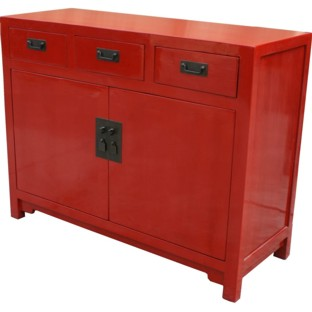 Red Three Draw Two Door Sideboard/Buffet