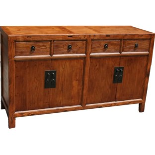 Original Wooden Two Door Four Drawer Sideboard