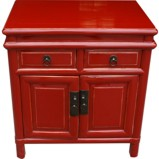 Red Lacquered Chinese Bedside Table