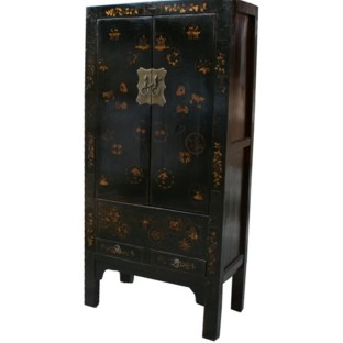 Black Medium  Cabinet with Gold Paintings