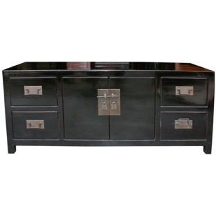 Black Lacquered Mandarin TV Unit/Low Sideboard