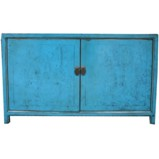 Blue Two Door Buffet with Hidden Drawers