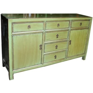 Green Two Door Six Drawers Sideboard/Buffet