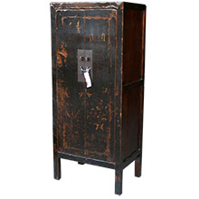 Original Black Wood Painted Slim Cabinet