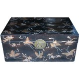 Black Antique Leather Trunk w/Embossed Butterflies