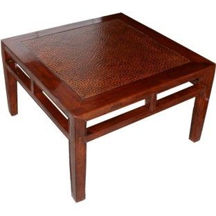Chinese Side Table Brown Rattan Inlay