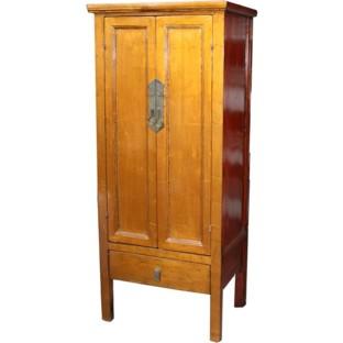 Gold Leaf Wooden Slim Cabinet