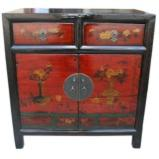 Two Drawer Mongolian Style Painted Cabinet