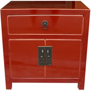 Red Painted Bedside Table