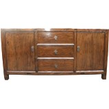 Antique Natural Elm Wood Sideboard