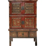 Original Red Characters Carved Chinese Cabinet