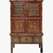 Original Red Carved Chinese Cabinet
