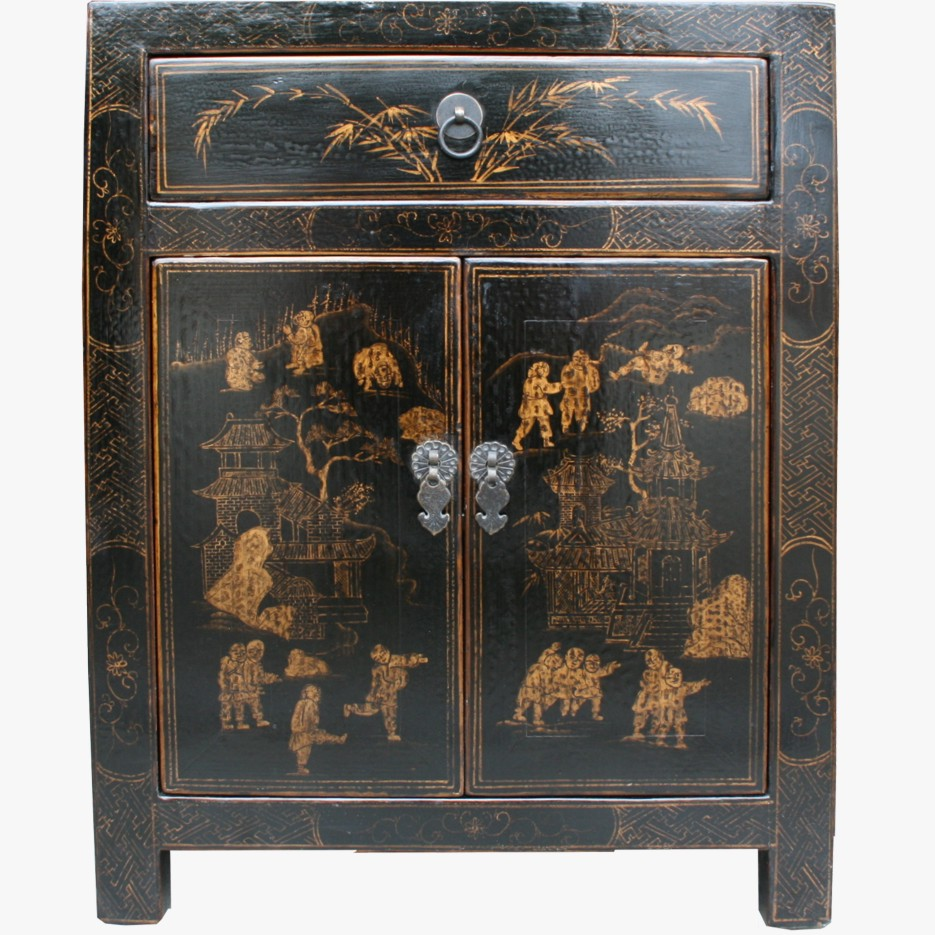 Chinese antique furniture black gold painted bedside for Chinese furniture ebay australia