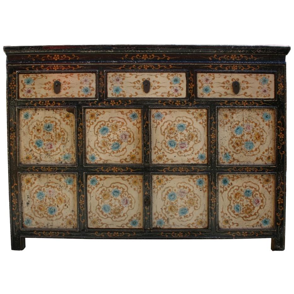 Original Painted Tibetan Cabinet Sideboard