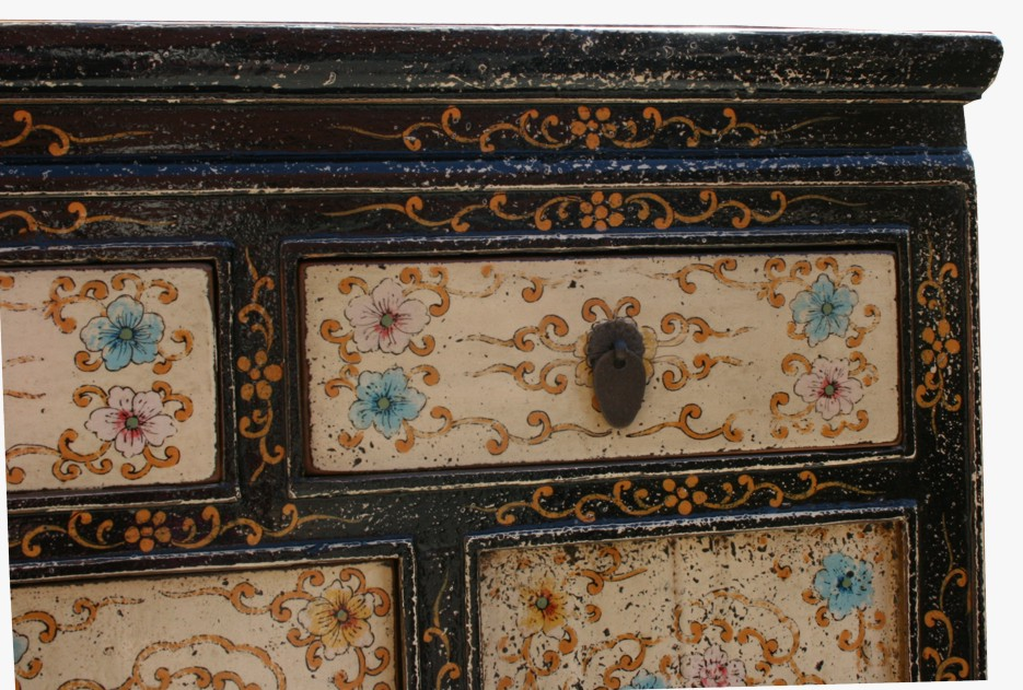 Original Painted Tibetan Cabinet Sideboard Drawer