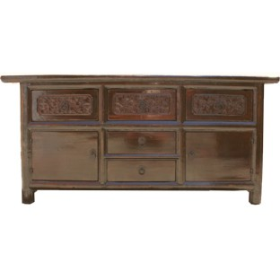 Original Carved Elm Wood Low Sideboard Buffet