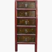 Original  Five Drawer Painted Tall Boy