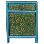 Tibetan Teal Painted Bedside Table