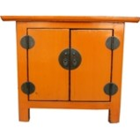 Low Orange Lacquered Bedside Table