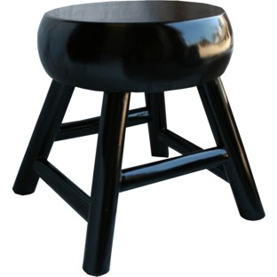 Black Thick Seated Round Stool