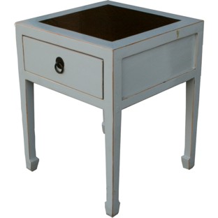 Grey Rattan Top Side Table