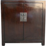 Brown Lacquer Wood Top Bedside Table