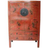 Large Chinese Red Cabinet with Gold Painted Scene