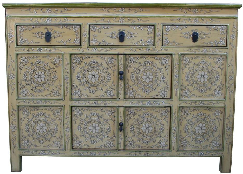Original Painted Tibetan Sideboard Embossed Front Panel