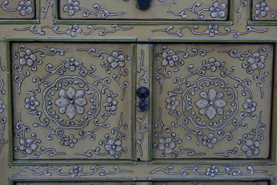 Original Painted Tibetan Sideboard Embossed Front Panel detail