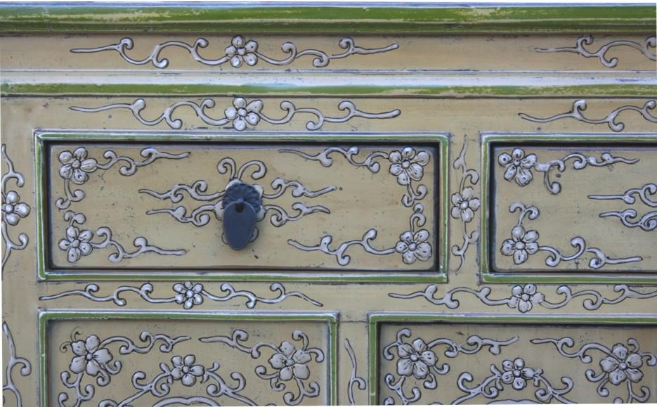 Original Painted Tibetan Sideboard Embossed Front Panel drawer