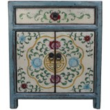 Grey Tibetan Painted Bedside Table