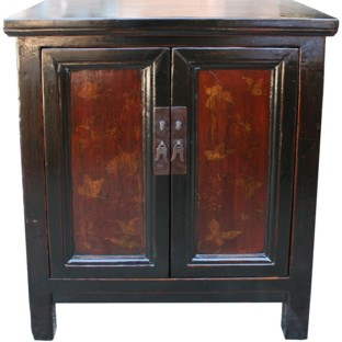 Red and Black Painted Butterflies Cabinet