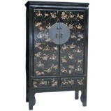 Black Wedding Cabinet with Gold Painted Butterflies