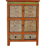 Tibetan Cabinet with Flora Painting