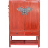 Chinese Red Antique Wedding Cabinet with Butterfly Hardware