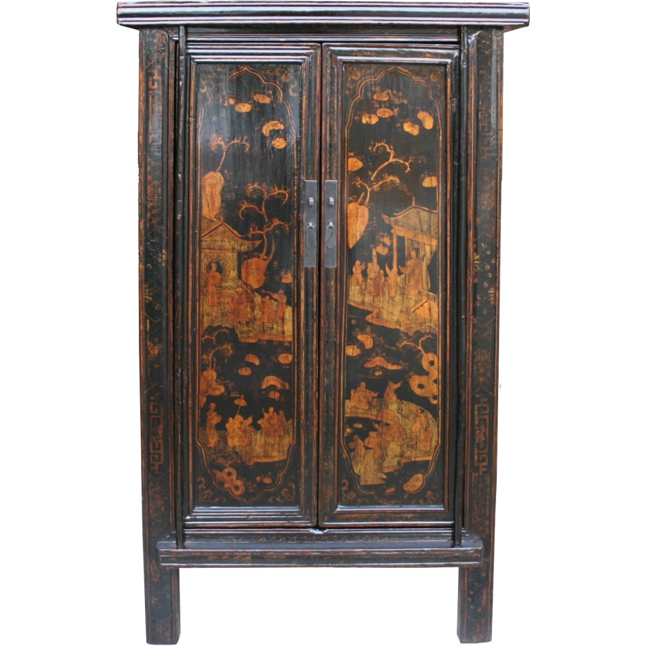 Antique chinese black gold painted cabinet 35 019 ebay for Chinese furnishings