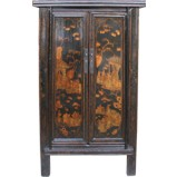 Black Chinese Gold Painting Cabinet