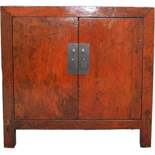 Original Orange Painted Side Cabinet