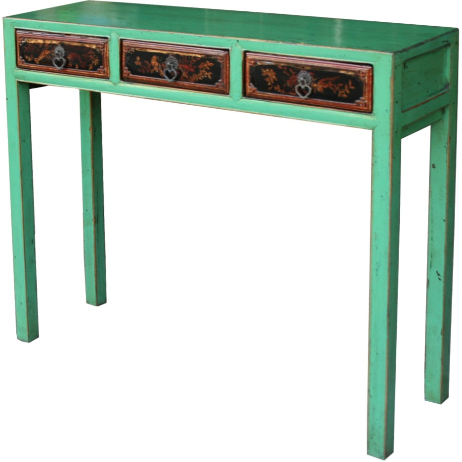 Original chinese green console hall table with painted for 35 console table