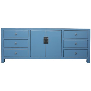 Large Cyan Grey Oriental Sideboard