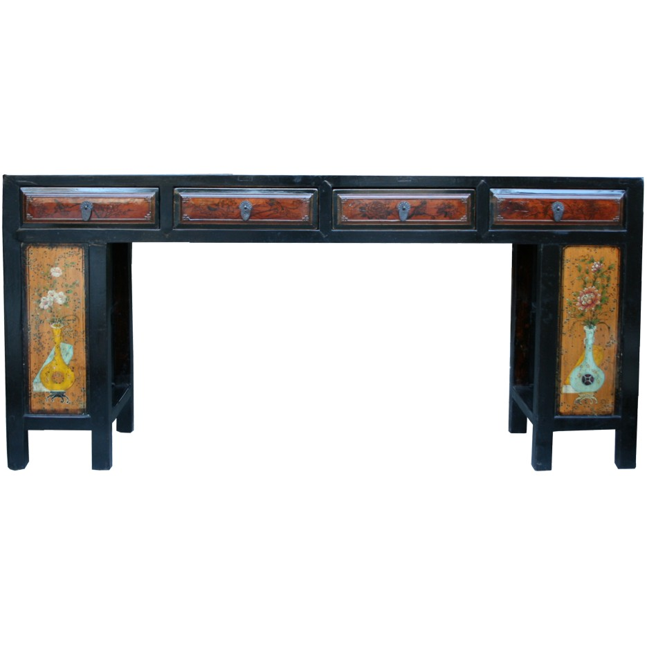 Antique chinese console table hall table painted flora for Chinese furniture ebay australia