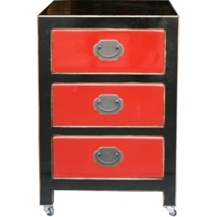 Black Lacquered Filing Cabinet with three Red Drawers