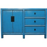 Blue  Lacquered Low Sideboard Buffet
