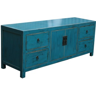 Blue Lacquered Low Sideboard