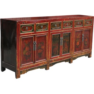 Original Red 6-Door 6-Drawer Painted Sideboard